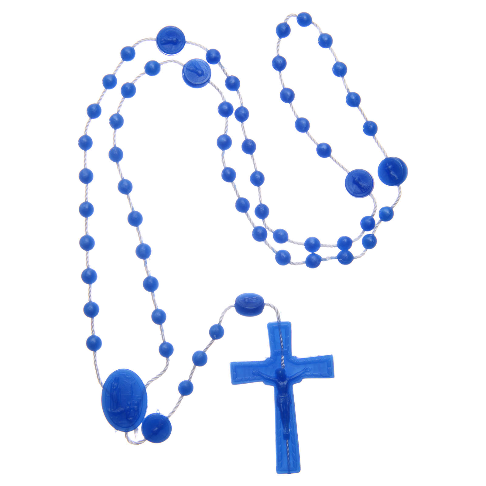 Różaniec Fatima nylon niebieski perłowy 6 mm 4