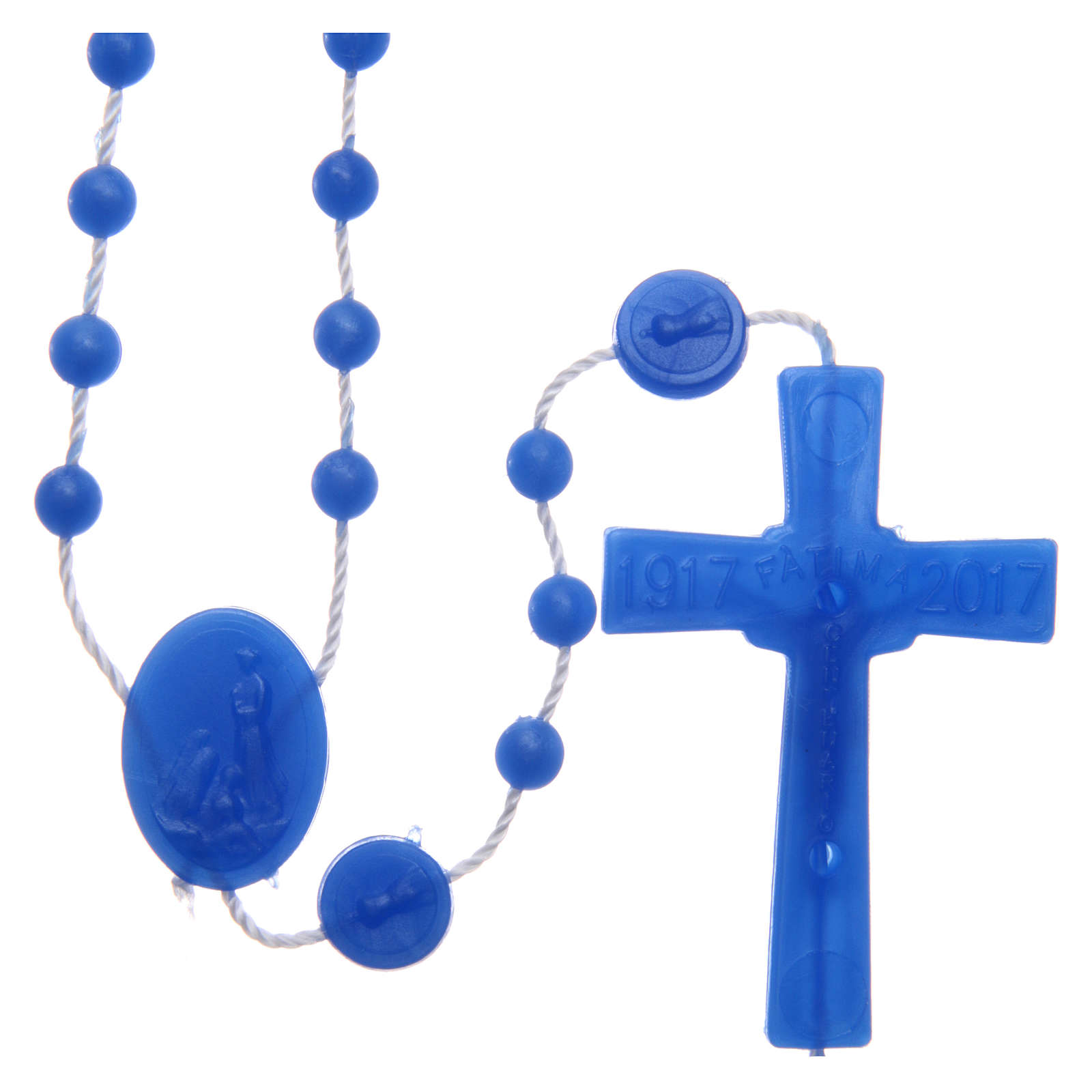Rosary of Fatima pearly blue in nylon 6 mm 4
