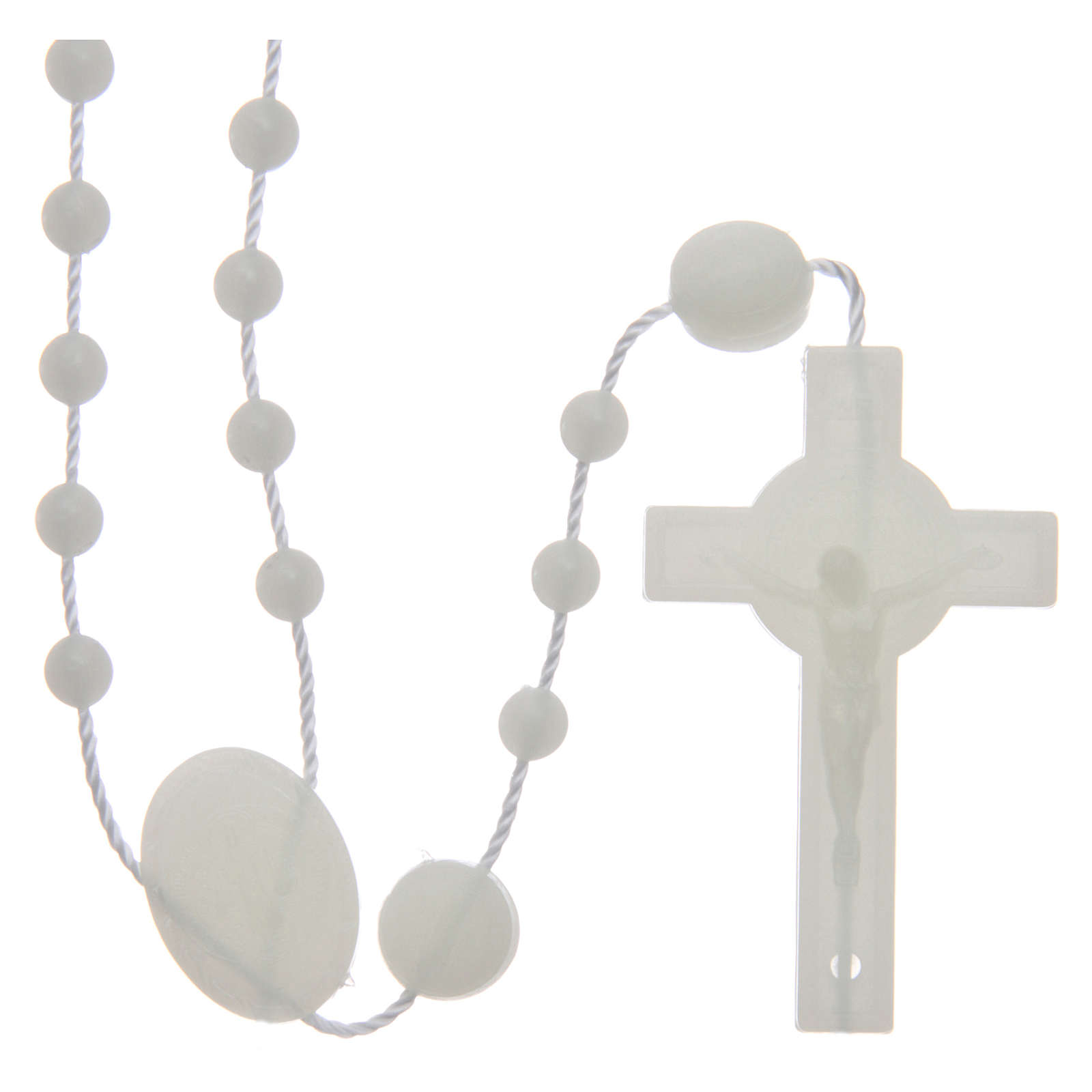 Saint Benedict rosary in nylon phosphorescent 6 mm 4