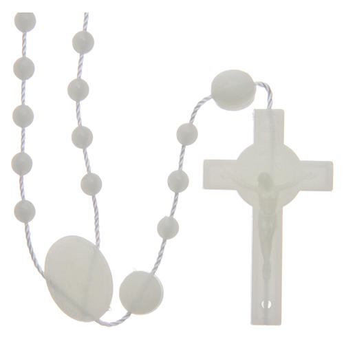 Saint Benedict rosary in nylon phosphorescent 6 mm 1
