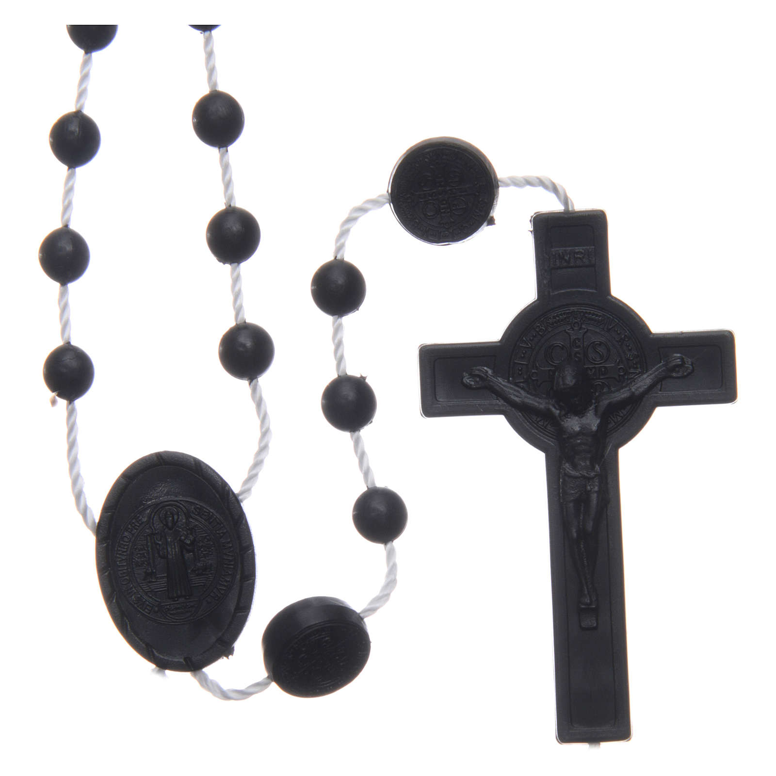 Saint Benedict rosary in nylon black 6 mm 4