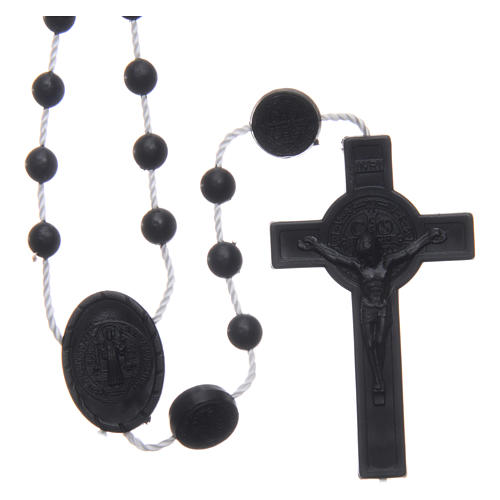 Saint Benedict rosary in nylon black 6 mm 1