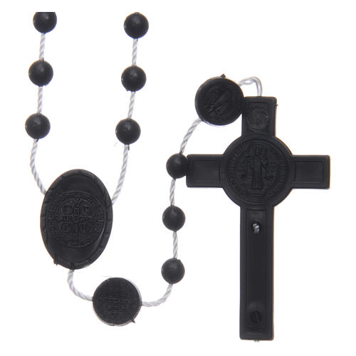 Saint Benedict rosary in nylon black 6 mm 2