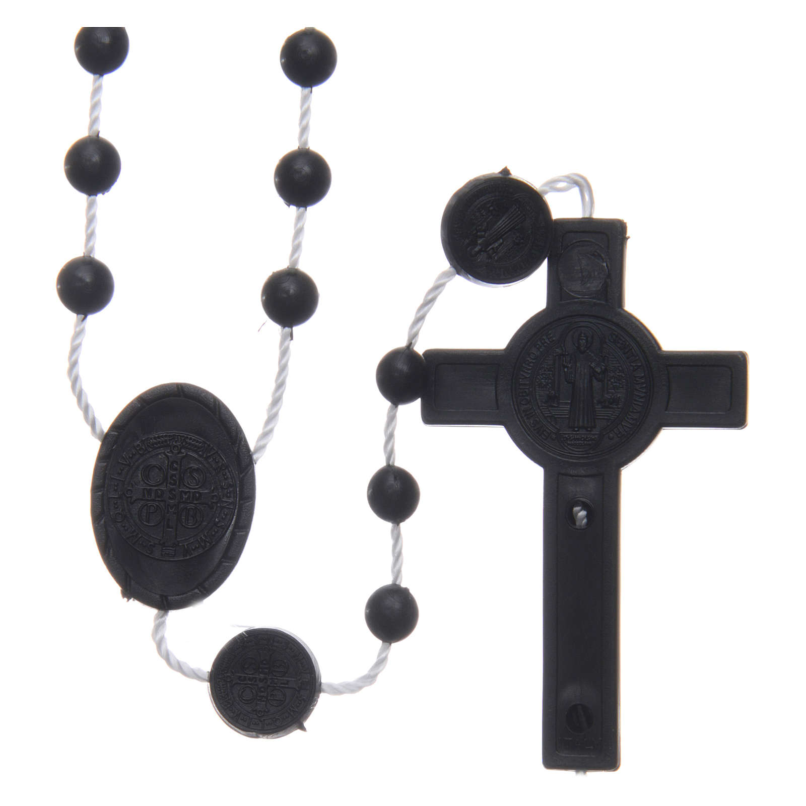 Różaniec nylon czarny Święty Benedykt 6 mm 4