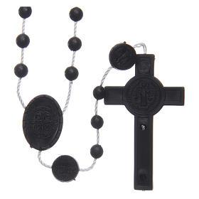 Różaniec nylon czarny Święty Benedykt 6 mm s2