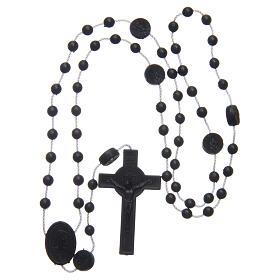 Różaniec nylon czarny Święty Benedykt 6 mm s4