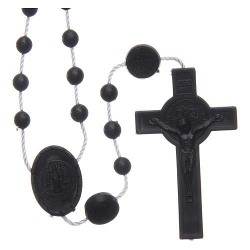 Różaniec nylon czarny Święty Benedykt 6 mm 1