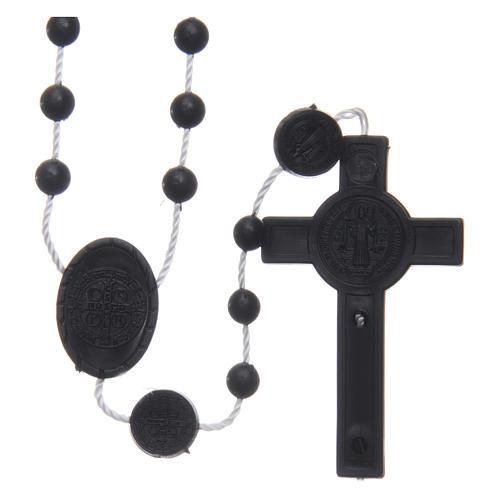 Różaniec nylon czarny Święty Benedykt 6 mm 2