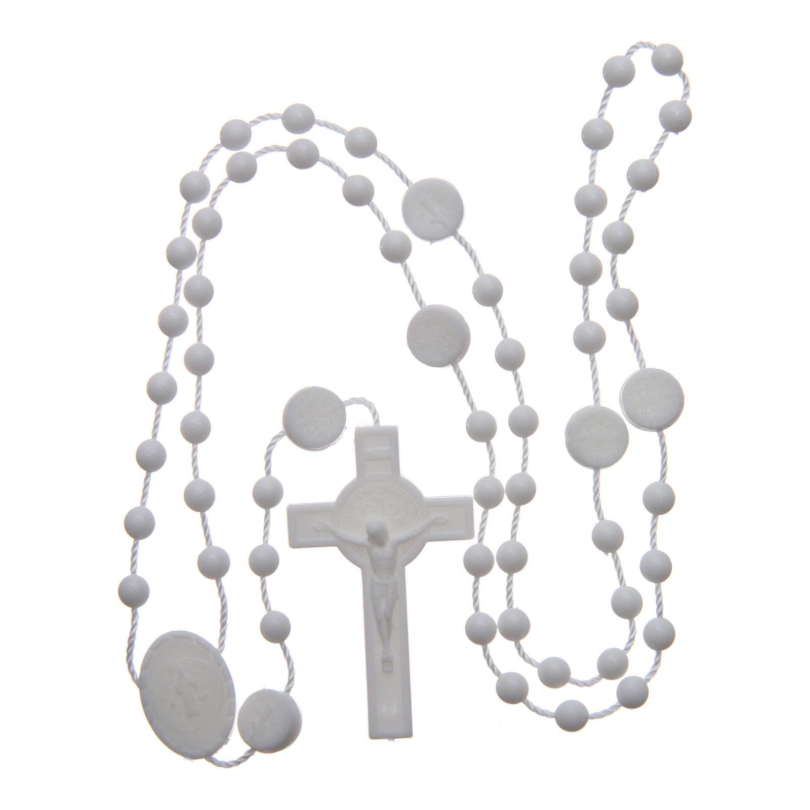 Saint Benedict rosary in nylon white 6 mm 4