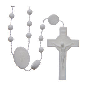Economical rosaries: Saint Benedict rosary in nylon white 6 mm
