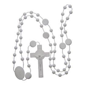 Różaniec nylon biały Święty Benedykt 6 mm s4