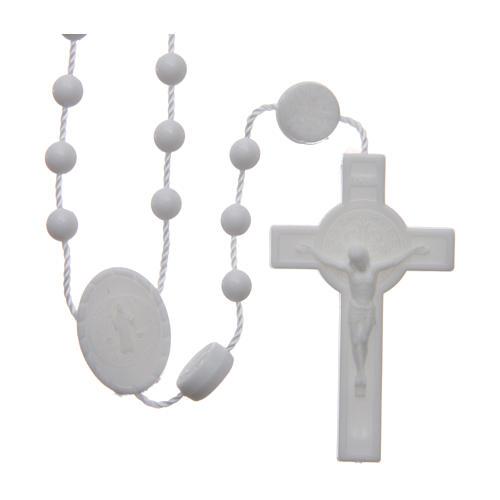 Różaniec nylon biały Święty Benedykt 6 mm 1