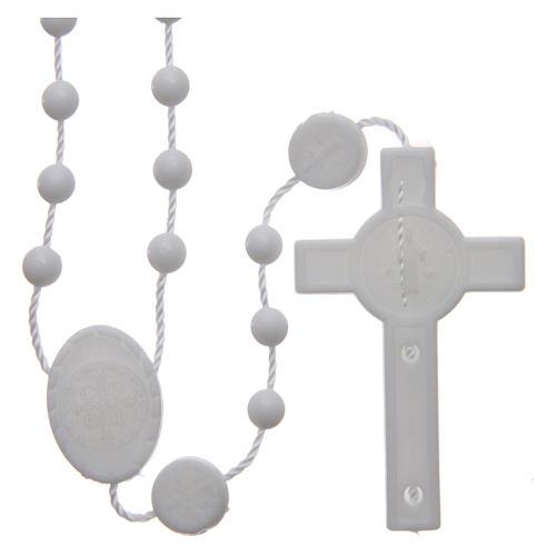 Różaniec nylon biały Święty Benedykt 6 mm 2