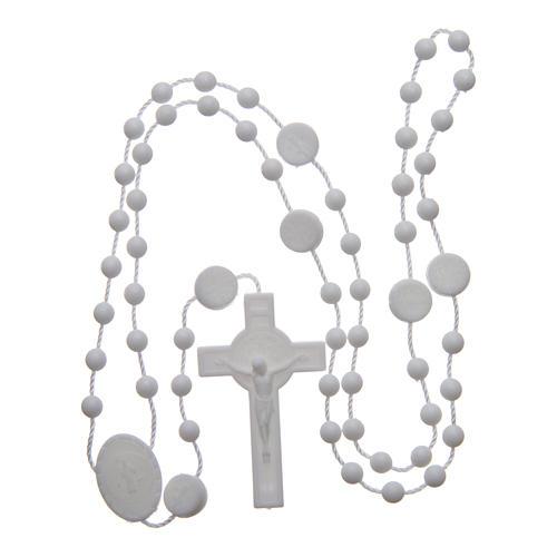 Różaniec nylon biały Święty Benedykt 6 mm 4