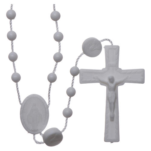 Nylon Our Lady of Miracles rosary in white color 1