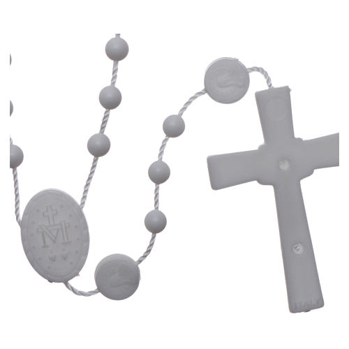 Nylon Our Lady of Miracles rosary in white color 2