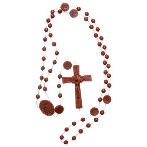 Rosario marrón nylon Virgen de la Medalla Milagrosa 4