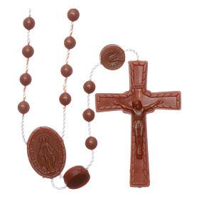 Terços Baratos: Terço castanho náilon Nossa Senhora Milagrosa
