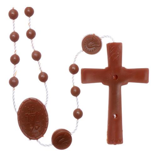 Terço castanho náilon Nossa Senhora Milagrosa 2