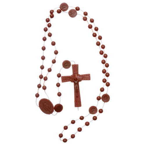 Terço castanho náilon Nossa Senhora Milagrosa 4