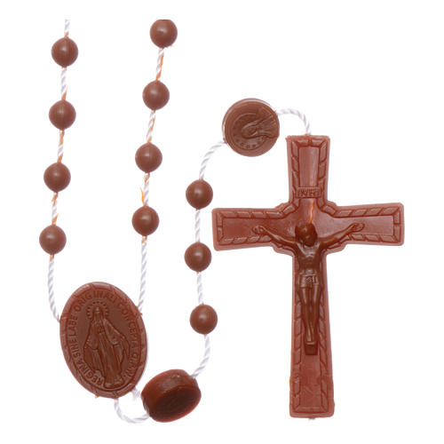 Nylon Our Lady of Miracles rosary in brown color 1