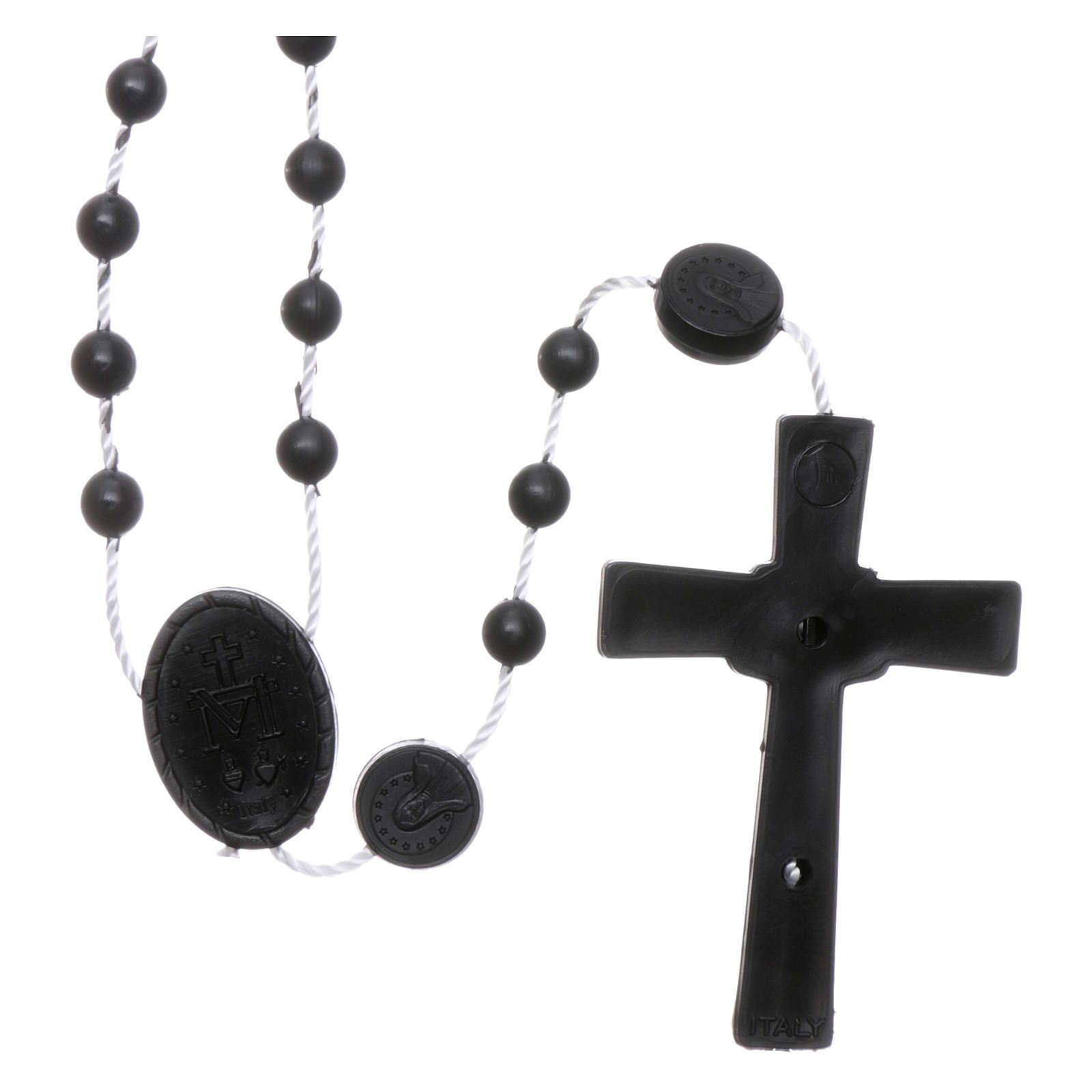 Rosario negro nylon Virgen de la Medalla Milagrosa 4