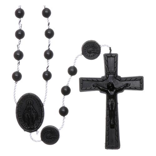 Rosario negro nylon Virgen de la Medalla Milagrosa 1