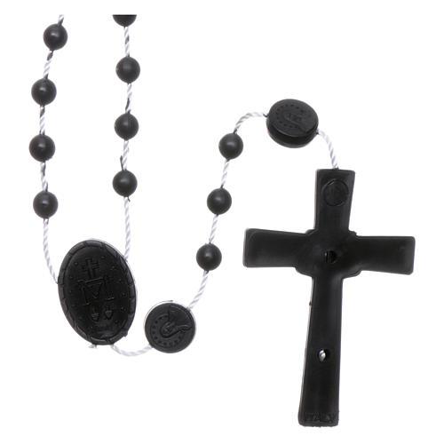 Rosario negro nylon Virgen de la Medalla Milagrosa 2