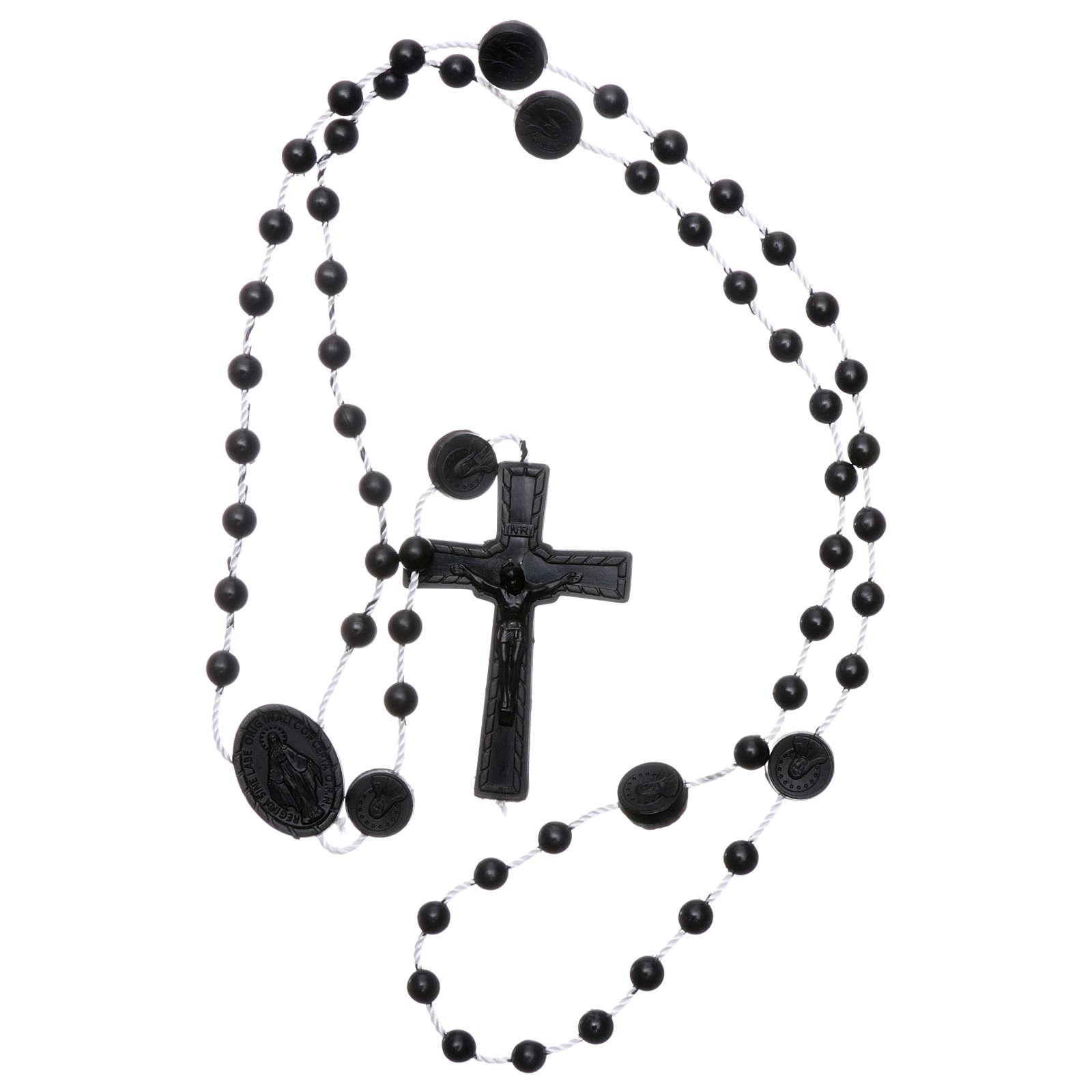 Chapelet noir nylon Vierge Miraculeuse 4