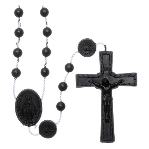 Chapelet noir nylon Vierge Miraculeuse 1