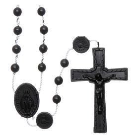 Terços Baratos: Terço preto náilon Nossa Senhora Milagrosa