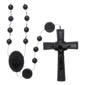 Nylon Our Lady of Miracles rosary in black color s1