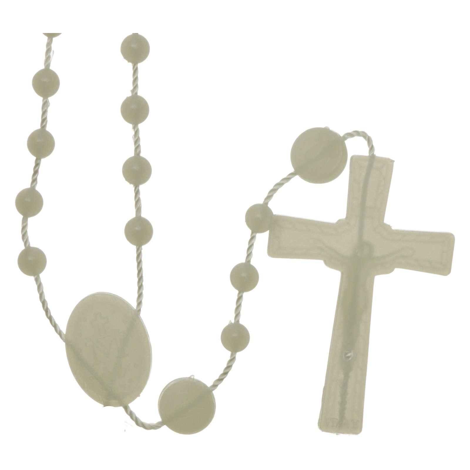 Rosario fosforescente nylon Virgen de la Medalla Milagrosa 4
