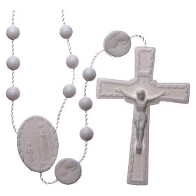 Terços Baratos: Terço Lourdes branco náilon