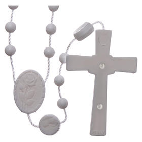 Nylon Our Lady of Lourdes rosary in white color s2