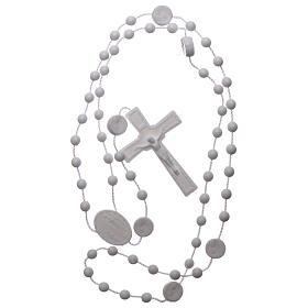 Nylon Our Lady of Lourdes rosary in white color s4