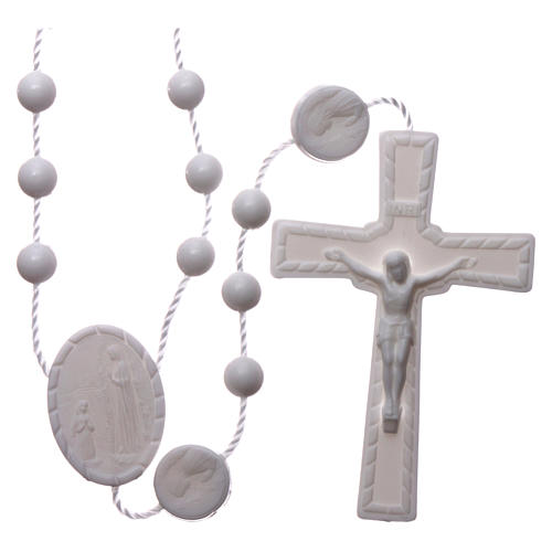 Nylon Our Lady of Lourdes rosary in white color 1