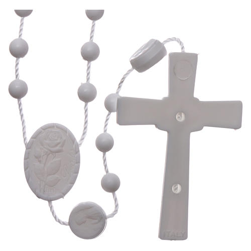Nylon Our Lady of Lourdes rosary in white color 2