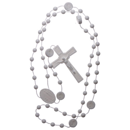 Nylon Our Lady of Lourdes rosary in white color 4