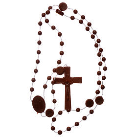 Nylon Our Lady of Lourdes rosary in brown color s4
