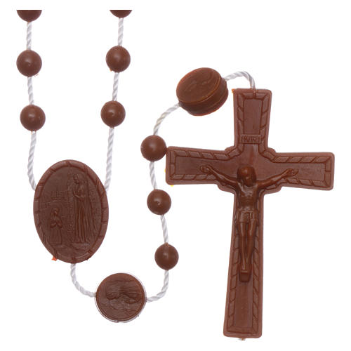 Nylon Our Lady of Lourdes rosary in brown color 1