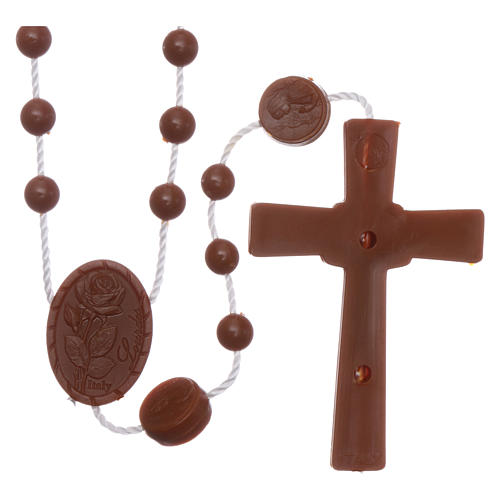 Nylon Our Lady of Lourdes rosary in brown color 2
