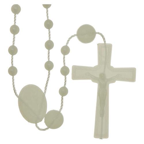 Rosario Nuestra Señora de Lourdes de nylon fosforescente 1