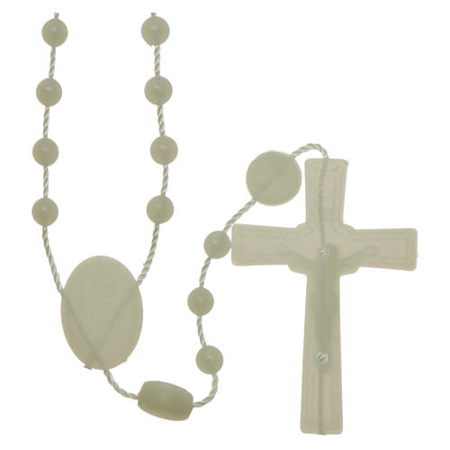 Nylon Our Lady of Lourdes rosary in fluorescent color 2