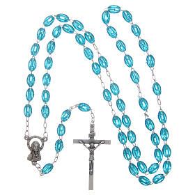 Rosary in plastic 6x5 mm grains, aqua s4