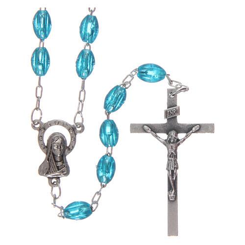 Rosary in plastic 6x5 mm grains, aqua 1