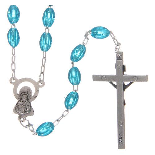 Rosary in plastic 6x5 mm grains, aqua 2