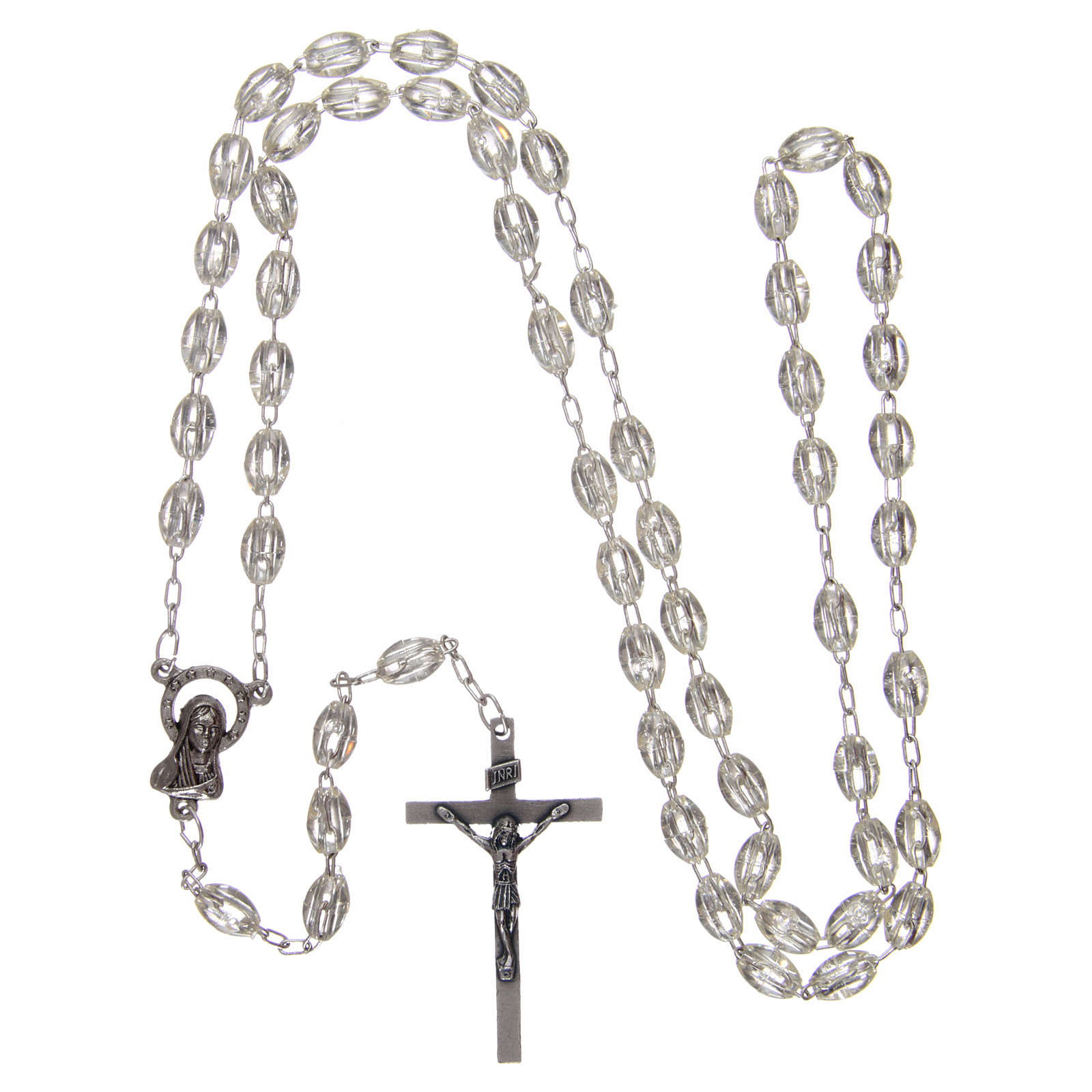 Rosary in plastic 6x3 mm grains, crystal colour 4