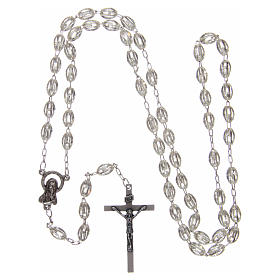 Rosary in plastic 6x3 mm grains, crystal colour s4
