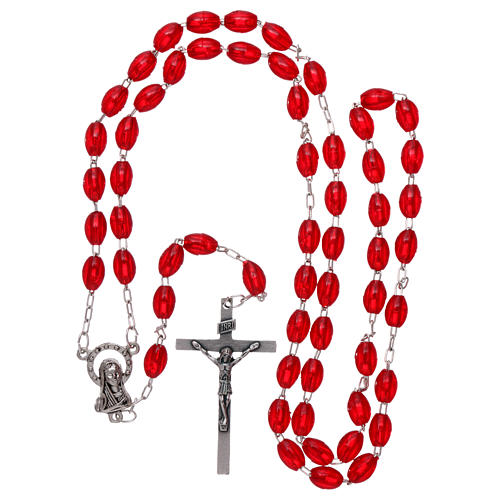 Rosary in plastic 6x3 mm grains, ruby red 4